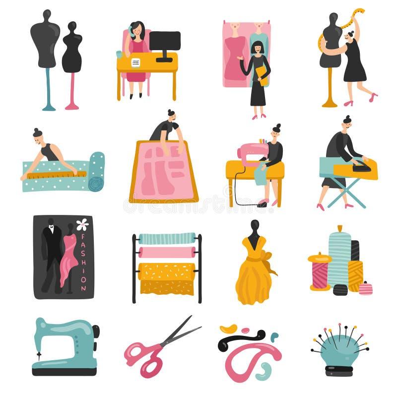 Garment Factory Set royalty free illustration