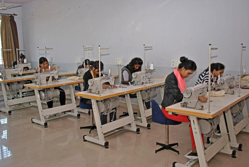 Garment manufacturing workshop stock photography