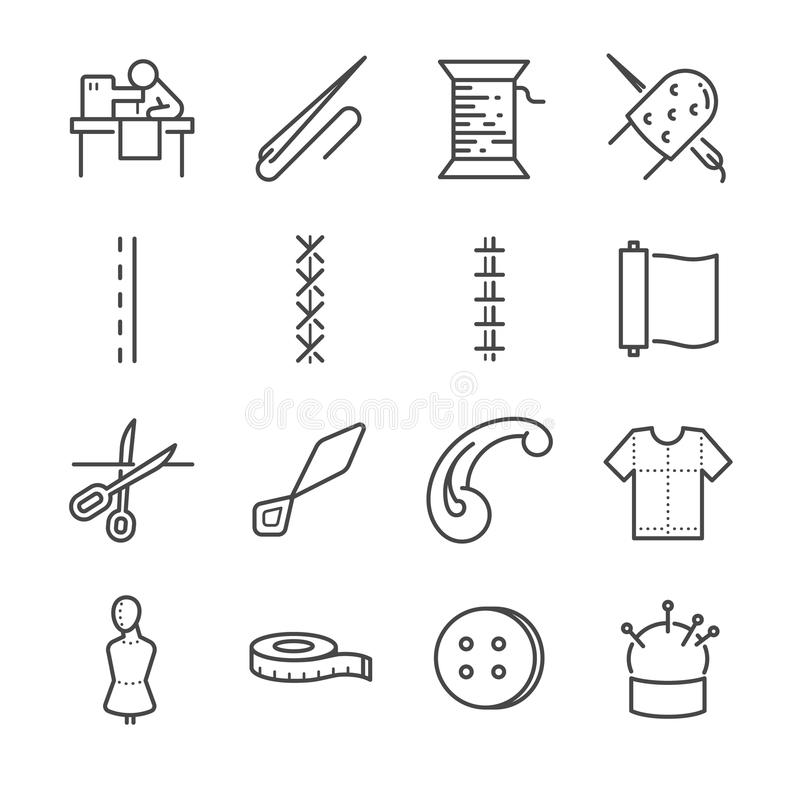 Garment vector line icon set. Included the icons as needle, sew, fabric, needle and more. vector illustration