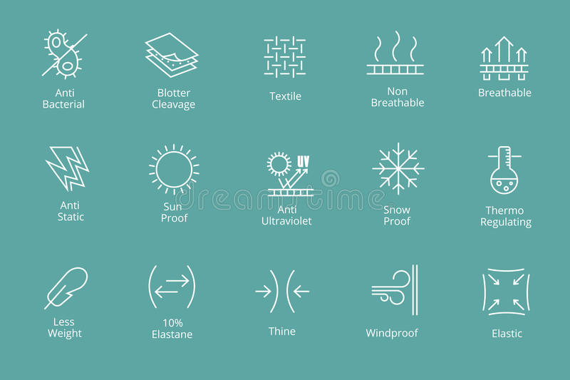 Garments and fabrics properties icons like waterproofing antibacterial, snow sun protection. Garments and fabrics properties icons like waterproofing and royalty free illustration