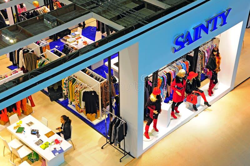 Garments pavilion at canton fair stock images