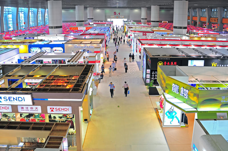 Garments pavilions at canton fair. Active buyers and visitors at the readymade clothes pavilions of canton fair 2012 in guangzhou, china stock photos