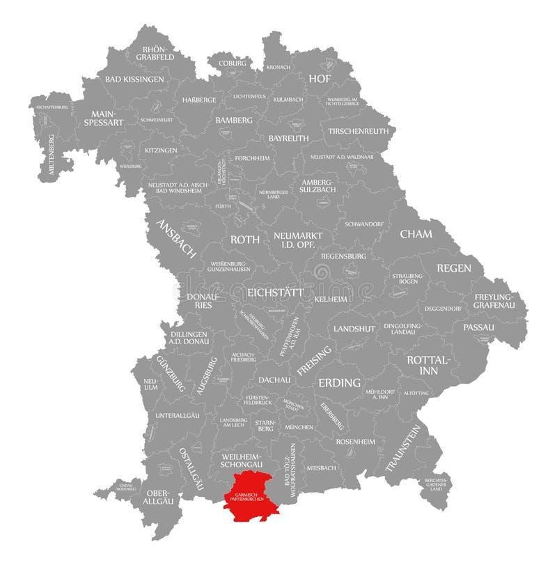 Garmisch-Partenkirchen okręgu administracyjnego czerwień podkreślająca w mapie Bavaria Niemcy royalty ilustracja