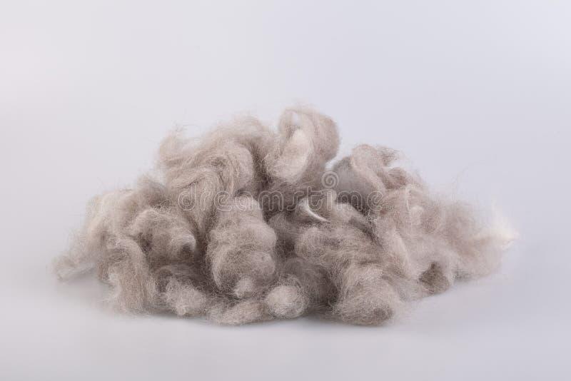 Garn för rå ull rullade ihop in i en boll arkivfoton