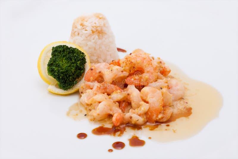 Garnalen en rijst stock afbeelding