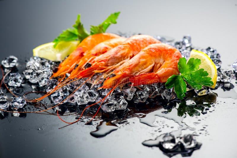 garnalen Verse garnalen op een zwarte achtergrond Zeevruchten op verpletterd ijs met kruiden Gezond voedsel royalty-vrije stock afbeeldingen