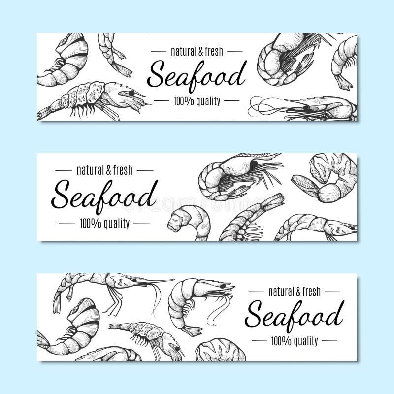 Garnalenbanner, de reeks van de het menuaffiche van het zeevruchtenrestaurant royalty-vrije illustratie