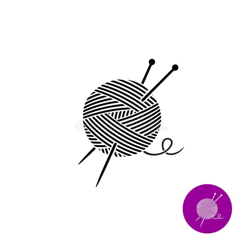 Garnboll med visarlogo Svartvit färg royaltyfri illustrationer