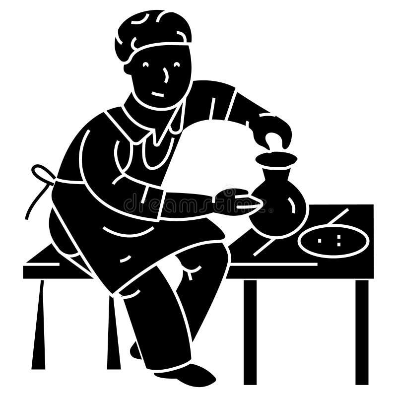 Garncarstwo, garncarka, ceramist ikona, wektorowa ilustracja, znak na odosobnionym tle ilustracji