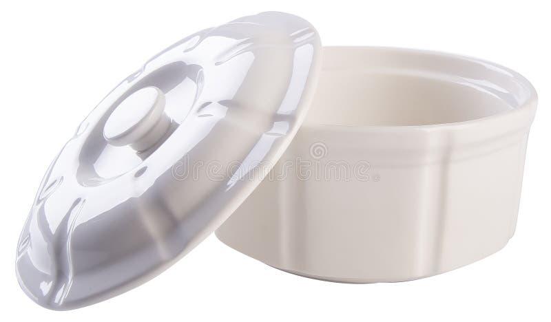 Garnek, Ceramiczny karmowy garnek na tle obraz royalty free