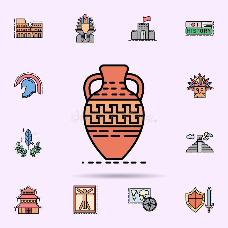 garnek, garncarstwo, dekoracja, Grecka ikona Og?lnoludzki ustawiaj?cy historia dla strona internetowa projekta i rozwoju, app roz royalty ilustracja