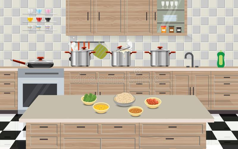 Garnek gotuje się w kuchennym pokoju royalty ilustracja