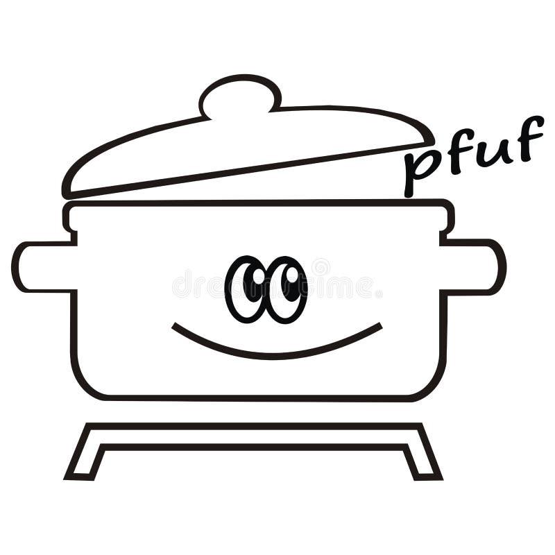 Garnek i dekiel, humorystyczna wektorowa ikona ilustracji