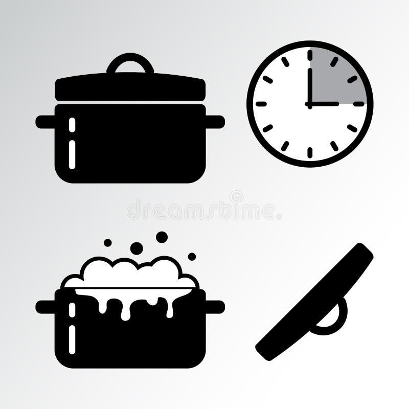 Garnek i kulinarna zegar ikona wektor ilustracji