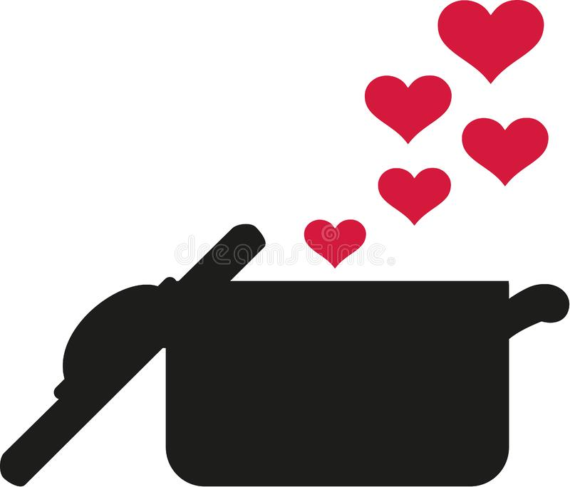 Garnek kuchnia z sercami ilustracja wektor