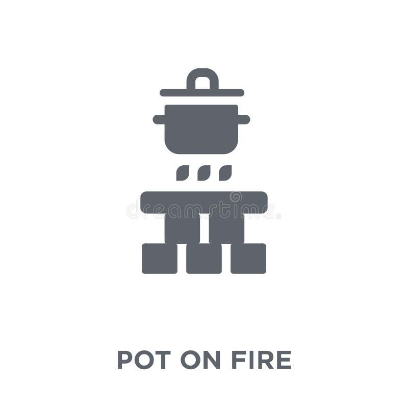 Garnek na pożarniczej ikonie od Campingowej kolekcji ilustracji