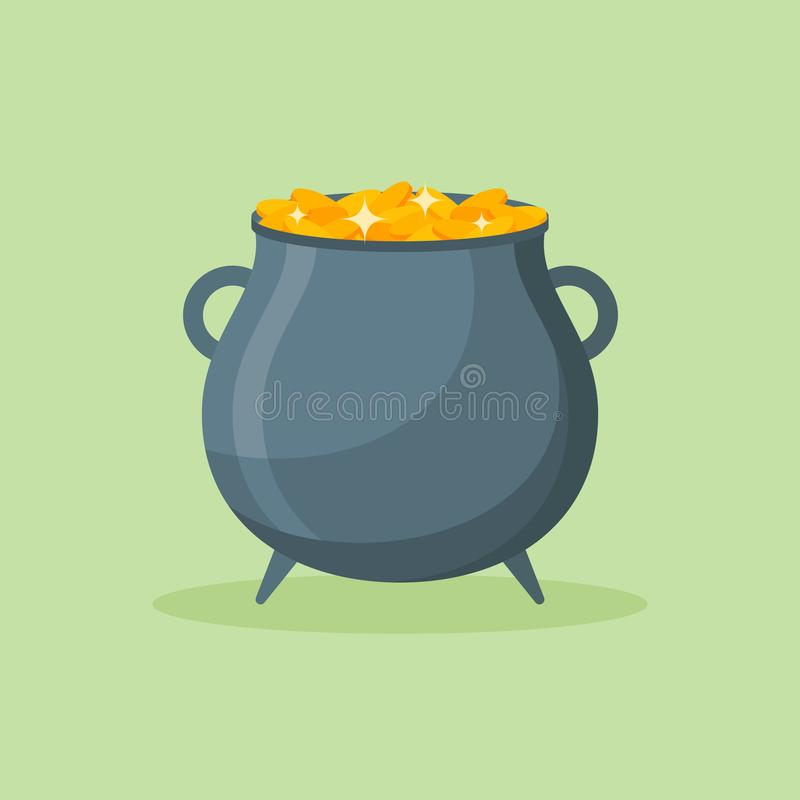 Garnek złocistych monet mieszkania stylu ikona również zwrócić corel ilustracji wektora ilustracja wektor