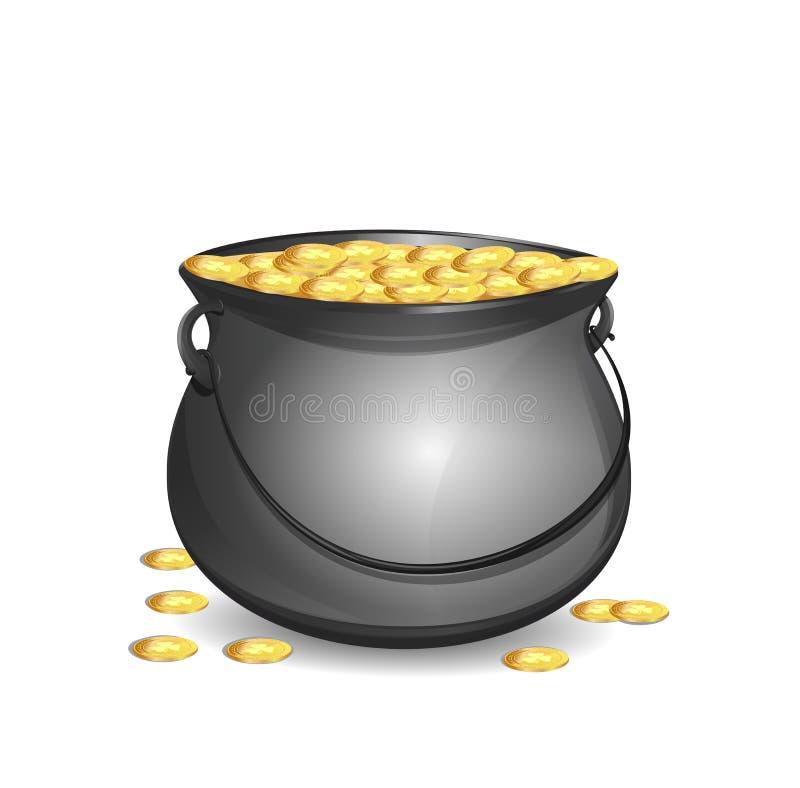Garnek Złoto Duży mityczny garnek z pełnymi złocistymi monetami Metalu garnek pełno złociste monety z wizerunkiem koniczyna ilustracja wektor