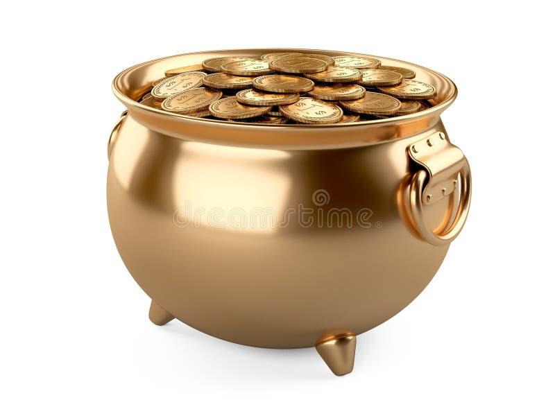 Garnek Złoto Kocioł Pełno monety ilustracji