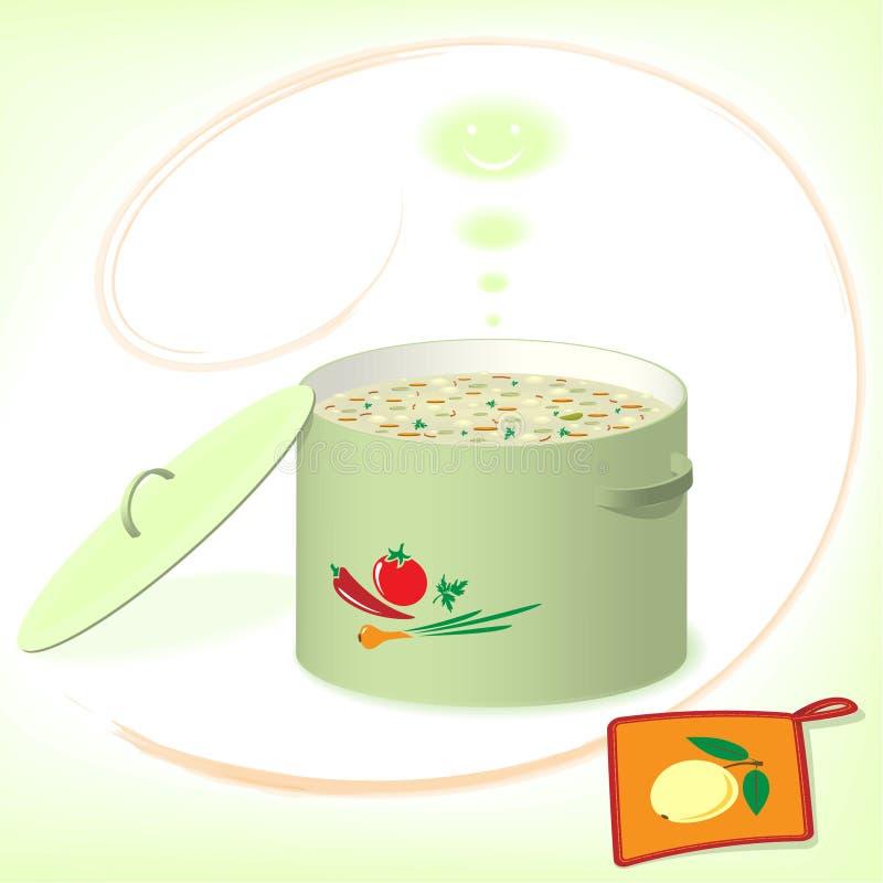Garnek z polewką na zielonym tle ilustracja wektor