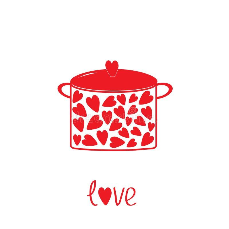 Garnek z sercami.  Miłości karta. royalty ilustracja