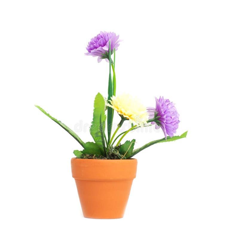 Garnek z sztucznymi kwiatami purpurowe i ? zdjęcia stock