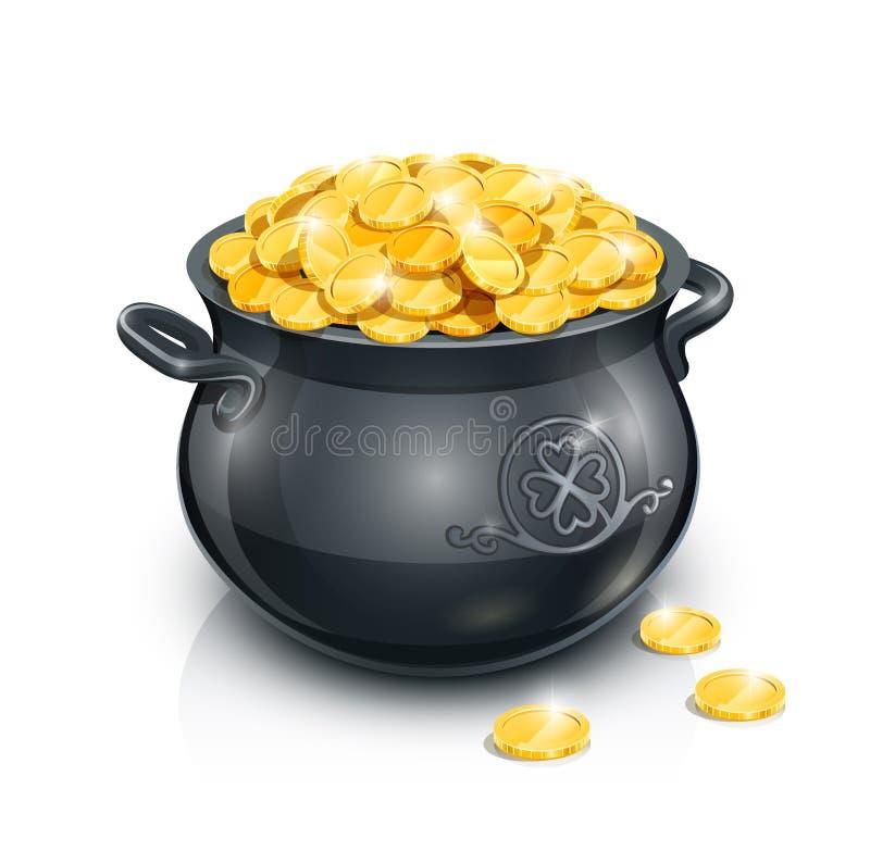Garnek z złocistą monetą dla Patrick dnia royalty ilustracja