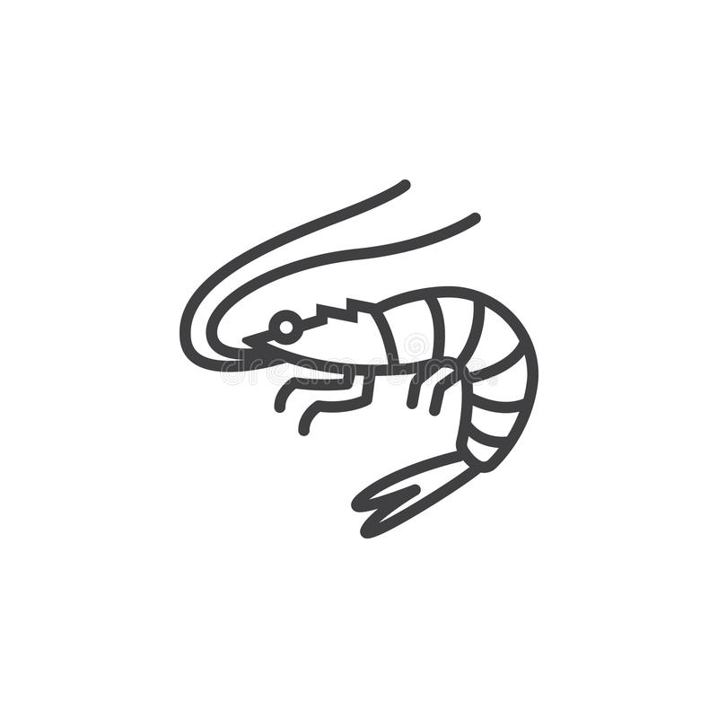 Garnela, krewetki kreskowa ikona, konturu wektoru znak, liniowy piktogram odizolowywający na bielu ilustracji