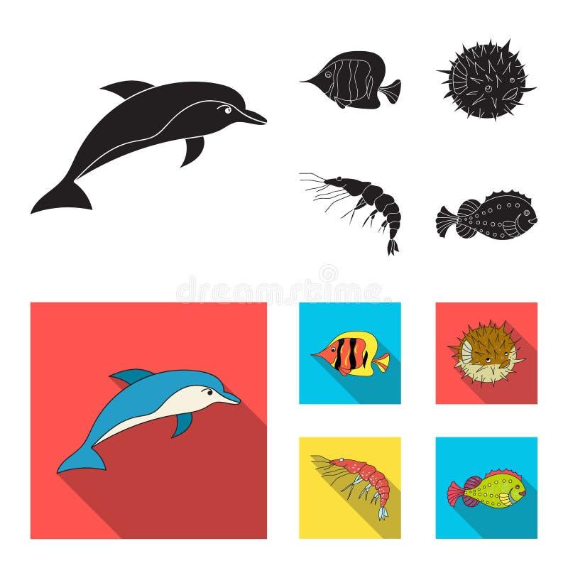 Garnela, ryba, jeż i inni gatunki, Dennych zwierząt ustawiać inkasowe ikony w czarnym, mieszkanie symbolu stylowy wektorowy zapas royalty ilustracja