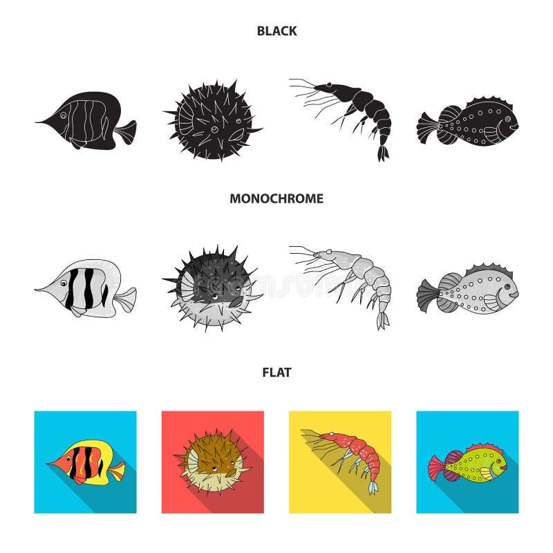 Garnela, ryba, jeż i inni gatunki, Dennych zwierząt ustawiać inkasowe ikony w czarnym, płaski, monochromu stylowy wektorowy symbo ilustracji