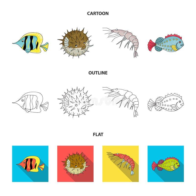 Garnela, ryba, jeż i inni gatunki, Dennych zwierząt ustawiać inkasowe ikony w kreskówce, kontur, mieszkanie stylowy wektorowy sym ilustracji