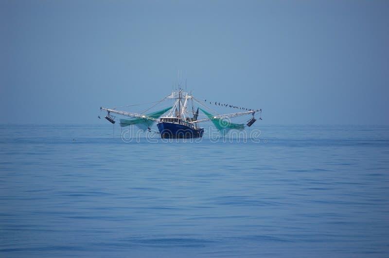 Garneleboot in Meer lizenzfreies stockbild