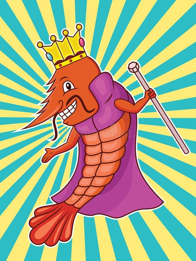 Garnelen-König mit Krone, Robe und Zepter-Karikatur stock abbildung