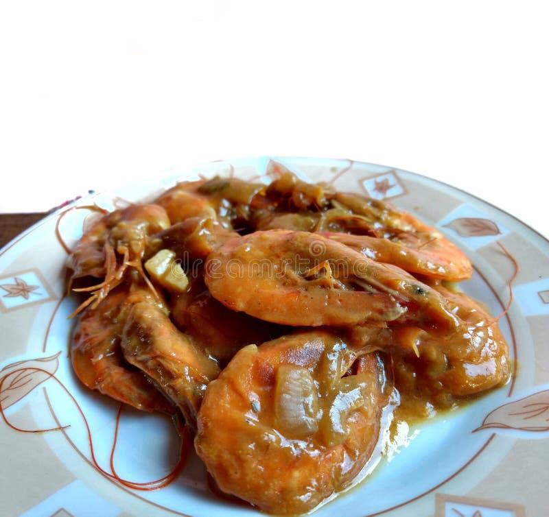 Garnelen-Garnelen in weißem Hintergrund typische Speisen aus Escuintla, Guatemala lizenzfreie stockfotos