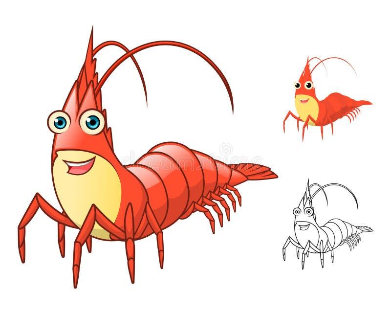 Garnelen-Zeichentrickfilm-Figur der hohen Qualität umfassen flaches Design und Linie Art Version stock abbildung