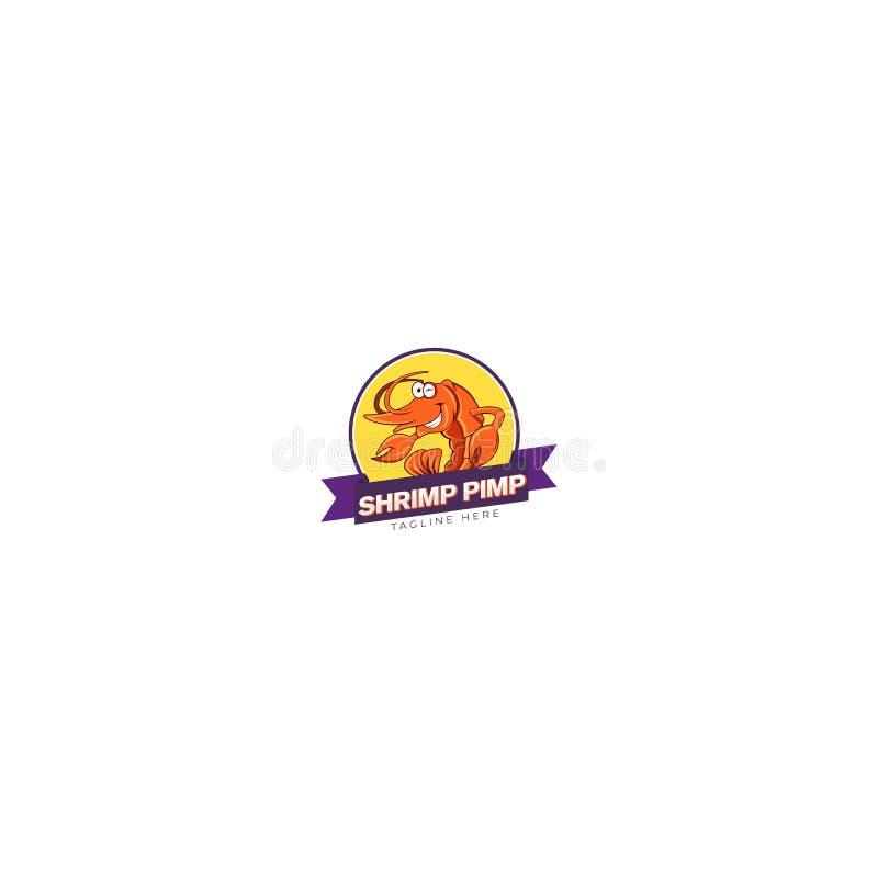 Garnelen-Zuhälter-Nahrung Logo Design vektor abbildung