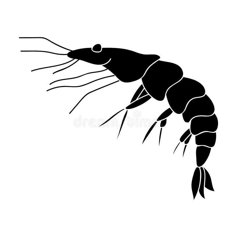 Garnelenikone in der schwarzen Art lokalisiert auf weißem Hintergrund Seetier-Symbolvorrat-Vektorillustration vektor abbildung