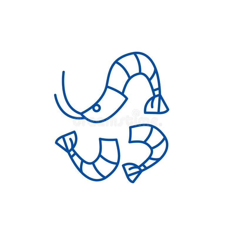 Garneli ikony kreskowy pojęcie Krewetkowy płaski wektorowy symbol, znak, kontur ilustracja ilustracji