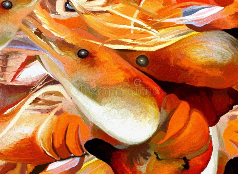 Garneli lub Królewiątko Krewetki piec na grillu Gigantyczny BBQ ilustracji