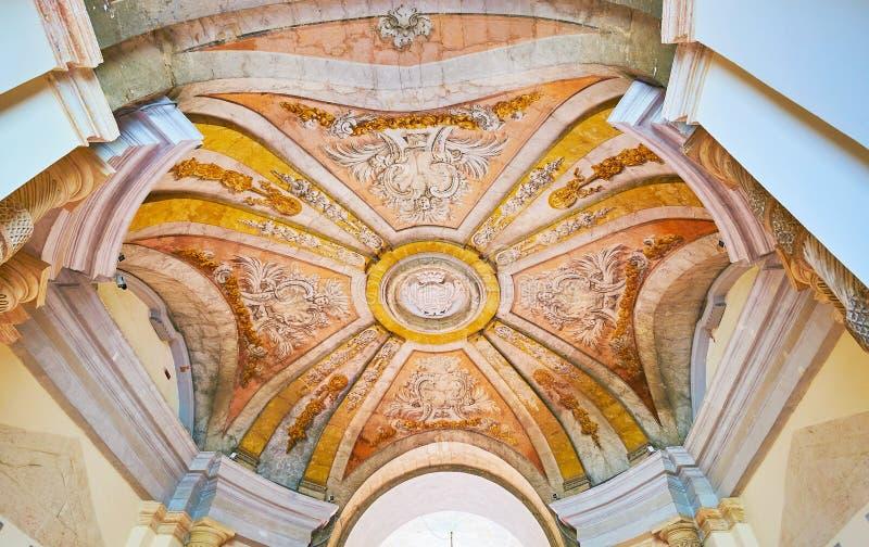 Garnering av farstubron av slotten för Grandmaster` s, Valletta, Malta arkivfoto