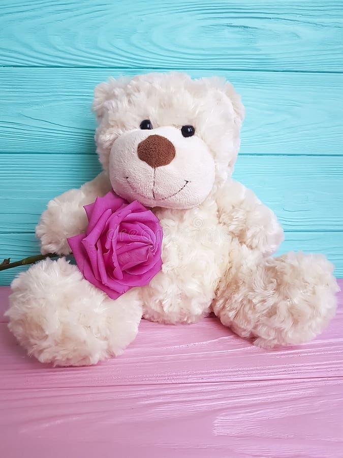 Garnering för bakgrund för gullig för softness för gåva för björnleksakblomma födelsedag för hälsning flott trä royaltyfri bild