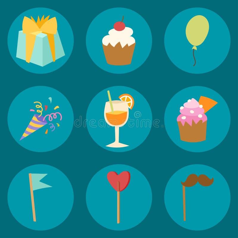 Garnering för ballong för gåva för konfettier för underhållning för beröm för parti för lycklig födelsedag för feriegyckelårsdag vektor illustrationer