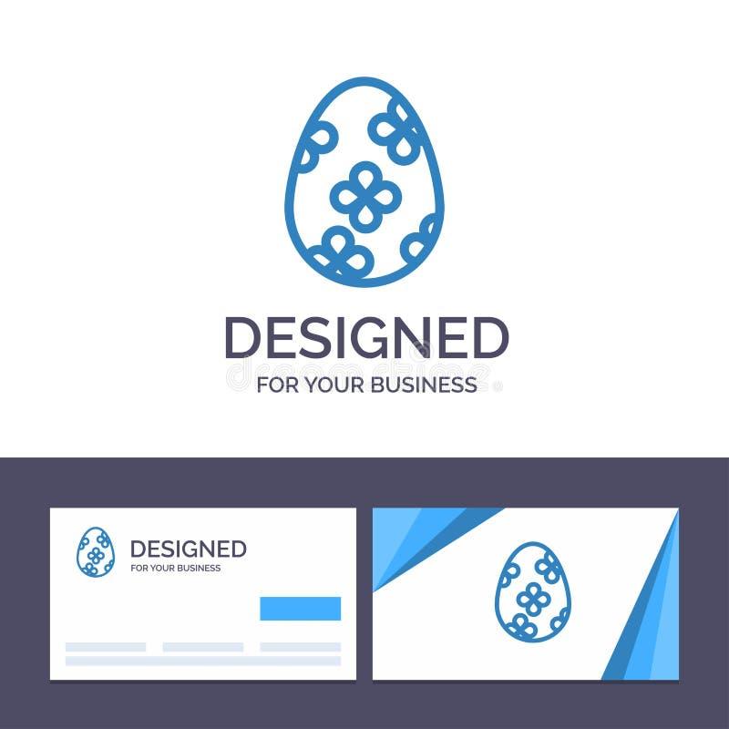 Garnering för idérik mall för affärskort och logo, påsk, påskägg, äggvektorillustration stock illustrationer