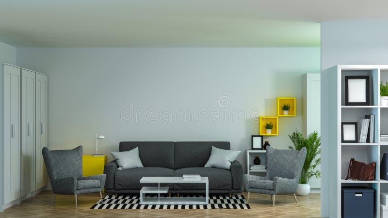Garnering för inre för arbetsmiljöer för mötesrum Co för soffa- och fåtöljmodellinrikesdepartementet har datorer och anteckningsb vektor illustrationer