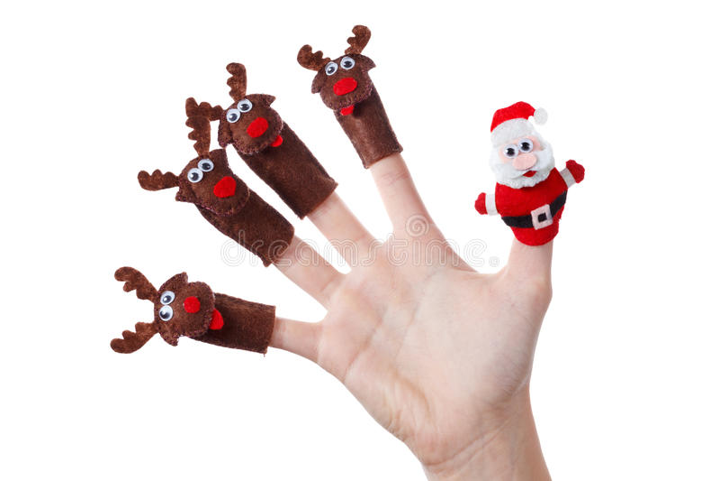 Garnering för jul för Santa Claus hjortleksak Humoristiskt begrepp arkivbild