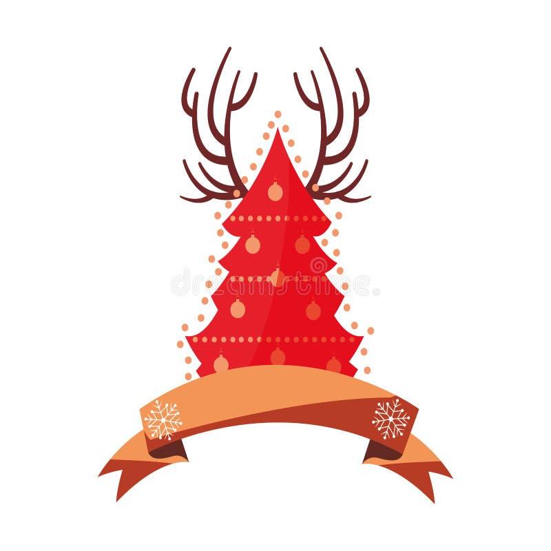 Garnering för julgranhornband stock illustrationer