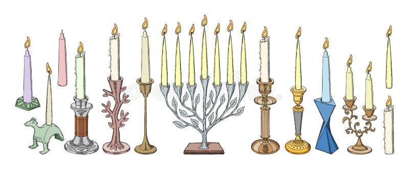 Garnering för levande ljus för tappning för lyktan för ljusstakevektorstearinljuset och den gamla kandelaberhållareillustrationen stock illustrationer