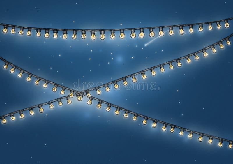 Garnering för ljus kedja framme av stjärnklar himmel vektor illustrationer