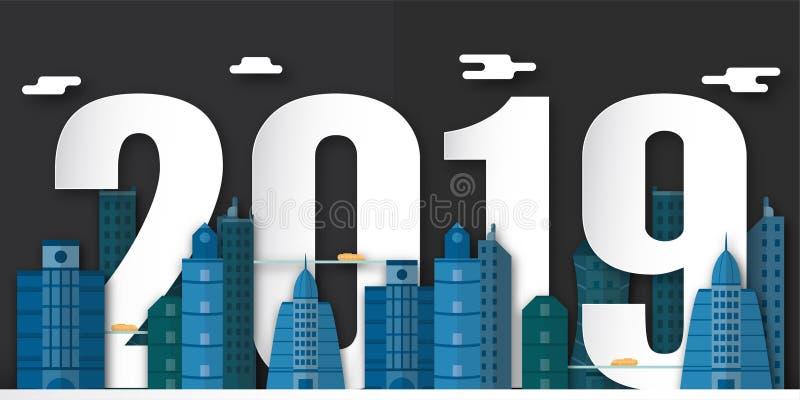 Garnering 2019 för lyckligt nytt år på blå bakgrund Vektorillustration med design för kalender 3D i papperssnitt och digitalt han vektor illustrationer