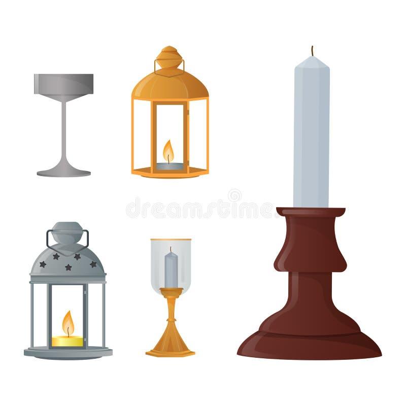 Garnering för lyktan för levande ljus för tappning för lyktan för ljusstakevektorstearinljuset och den gamla kandelaberhållareill royaltyfri illustrationer